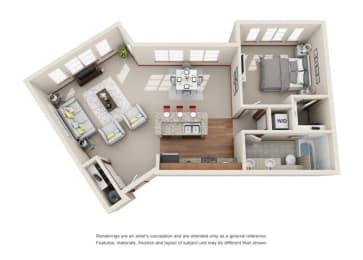1 Bed 1 Bath Floor plan at Harrington Square, Renton, WA, 98056