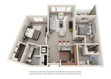 2 Bed 2 Bath Floor plan at Harrington Square, Washington, 98056