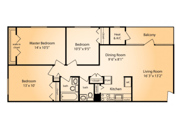 Floor Plan THREE BEDROOM ONE AND HALF BATH