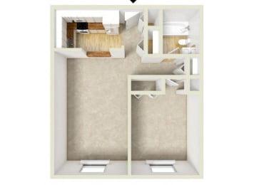 Floor Plan Midrise - One Bedroom, One Bath