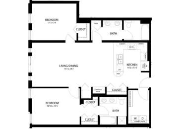 Floor Plan 2 Bedroom C