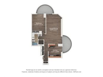 Floor Plan 1 Bedroom 11