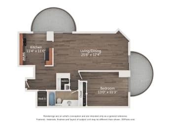 Floor Plan 1 Bedroom 12