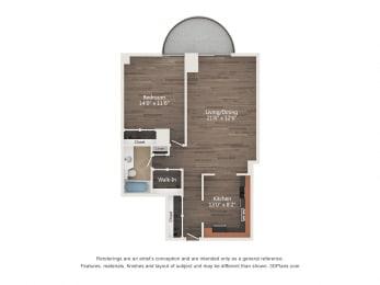 Floor Plan 1 Bedroom 07