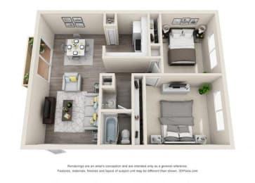 Floor plan at Ocean Breeze Villas, Huntington Beach, California