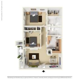 B1 - 2 bedroom 2 bath Floor Plan at Park at Caldera, Texas, 79705
