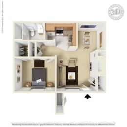 A2 - 1 bedroom 1 bath Floor Plan at University Gardens, Texas, 79761