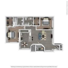 2 Bed 2 Bath The Camden Floor Plan at Orion MainStreet, Ann Arbor, 48103