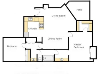Casas Lindas two bedroom apartment 2A- Agave - Floor Plan, opens a dialog