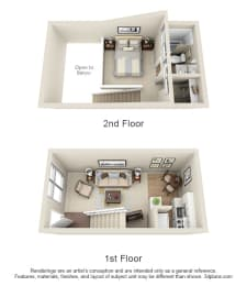 Floor Plan 1 Bed Loft