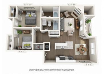 2 Bed/2 Bath Floor Plan at Heatherbrae Commons, Oregon