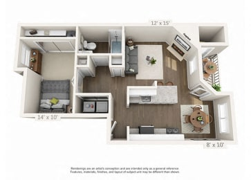 Renovated 1 Bed 1 Bath Floor Plan at Heatherbrae Commons, Milwaukie, 97222