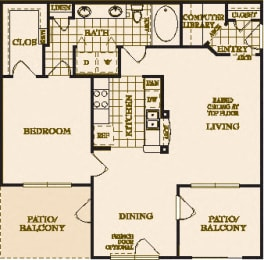 One Bed One Bath A1 Floor Plan at Villas at Stone Oak Ranch, Texas, 78727