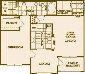 One Bed One Bath A2 Floor Plan at Villas at Stone Oak Ranch, Austin, TX, 78727