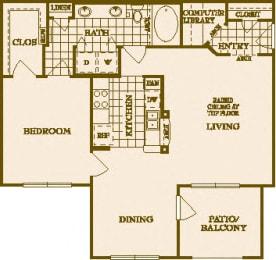 One Bed One Bath A3 Floor Plan at Villas at Stone Oak Ranch, Austin, TX