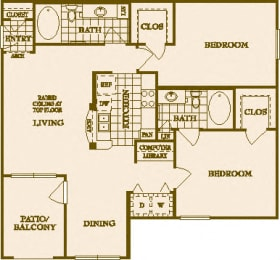 Two Bed Two Bath B Floor Plan at Villas at Stone Oak Ranch, Austin