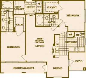 Two Bed Two Bath B1 Floor Plan at Villas at Stone Oak Ranch, Texas