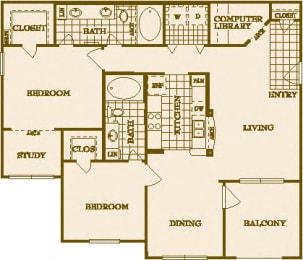 Two Bed Two Bath B2 Floor Plan at Villas at Stone Oak Ranch, Texas, 78727