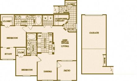 Two Bed Two Bath B3 Floor Plan at Villas at Stone Oak Ranch, Austin, TX, 78727