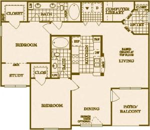 Two Bed Two Bath B4 Floor Plan at Villas at Stone Oak Ranch, Austin, TX