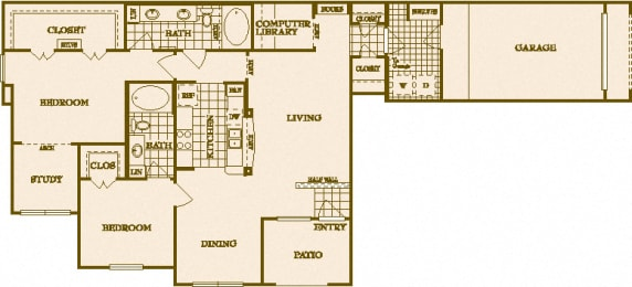 Two Bed Two Bath B7 Floor Plan at Villas at Stone Oak Ranch, Austin