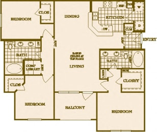 3 Bed 2 Bath Floor Plan at Villas at Stone Oak Ranch, Austin, Texas