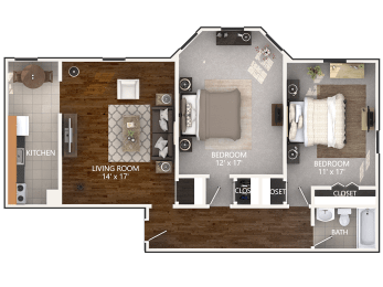 2 Bedroom Floor Plan at Connecticut Plaza Apartments in Washington, DC