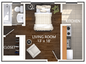 Studio Floor Plan at Connecticut Plaza Apartments in Washington, DC