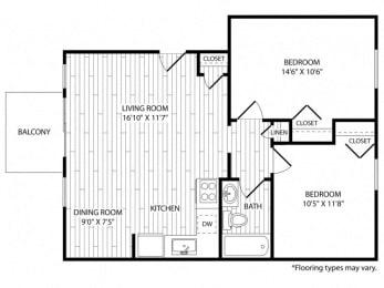 Floor Plan 2 Bedroom - Renovated