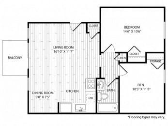 Floor Plan 1 Bedroom. Den - Renovated