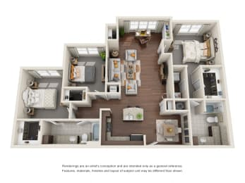 Three Bedroom   Two Bathroom   Cabernet Floor Plan at The Gentry at Hurstbourne, Louisville, Kentucky