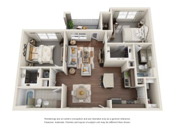 Two Bedroom   Two Bathroom   Rosehill Floor Plan at The Gentry at Hurstbourne, Louisville, KY, 40222
