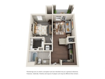 One Bedroom   One Bathroom   Serendipity Floor Plan at The Gentry at Hurstbourne, Louisville