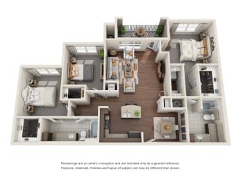 Two Bedroom   Two Bathroom   Sonoma Floor Plan at The Gentry at Hurstbourne, Louisville, 40222