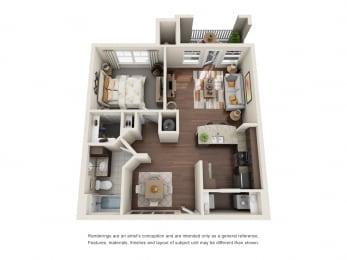 One Bedroom   One Bathroom   Syrah Floor Plan at The Gentry at Hurstbourne, Louisville, Kentucky