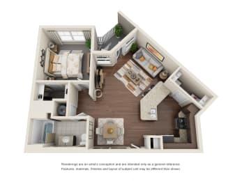 One Bedroom   One Bathroom   Verona Floor Plan at The Gentry at Hurstbourne, Kentucky