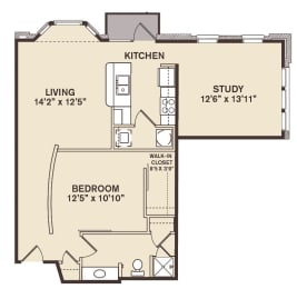 Providence At Old Meridian One bedroom with den apartment in Carmel Indiana, opens a dialog