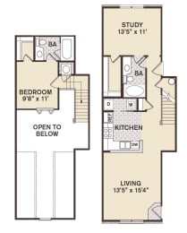 Providence At Old Meridian One bedroom wtih study apartment in Carmel Indiana, opens a dialog