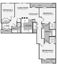 3 bed 2 bath FloorPlan at Apartments at Grand Prairie, Illinois, opens a dialog