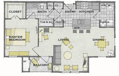 1 bed 1 bath FloorPlan at Apartments at Grand Prairie, Illinois, 61615, opens a dialog