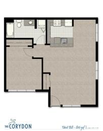 One Bedroom B8 FloorPlan at The Corydon, Seattle, Washington