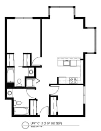 Two Bedroom C1 2 FloorPlan at The Corydon, Seattle, WA, 98105
