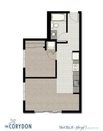 One Bedroom B2 A FloorPlan at The Corydon, Seattle, WA, 98105