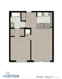 One Bedroom B3 1 FloorPlan at The Corydon, Washington, 98105