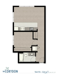 One Bedroom B1 FloorPlan at The Corydon, Seattle