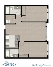 Two Bedroom C3 FloorPlan at The Corydon, Washington, 98105