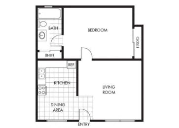 One Bedroom One Bathroom Layout A Floor Plan at Marina Crescent Apartments, Marina, 93933