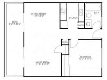 1 Bedroom 1 Bath Floor Plan at Monterey Townhouse, Monterey