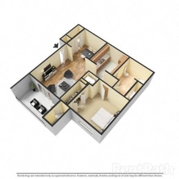 1 Bedroom, 1 Bath Floor Plan at Creekside Square, Indiana