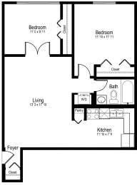 Floor Plan One Bedroom One Bath Large